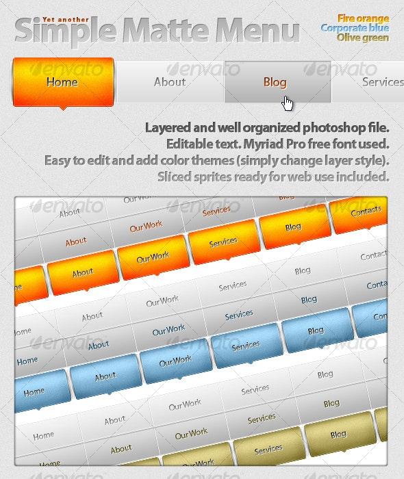 Yet Another Matte Menu - Buttons Web Elements