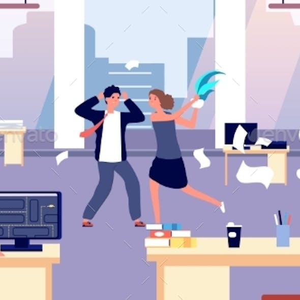 Office Brawl. Chaos in Workplace. Negative
