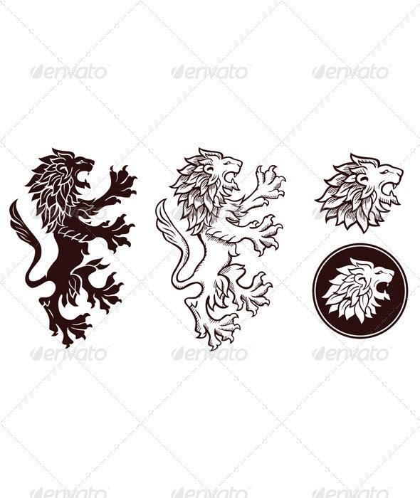 Heraldic Lion Silhouettes 2 - Decorative Symbols Decorative