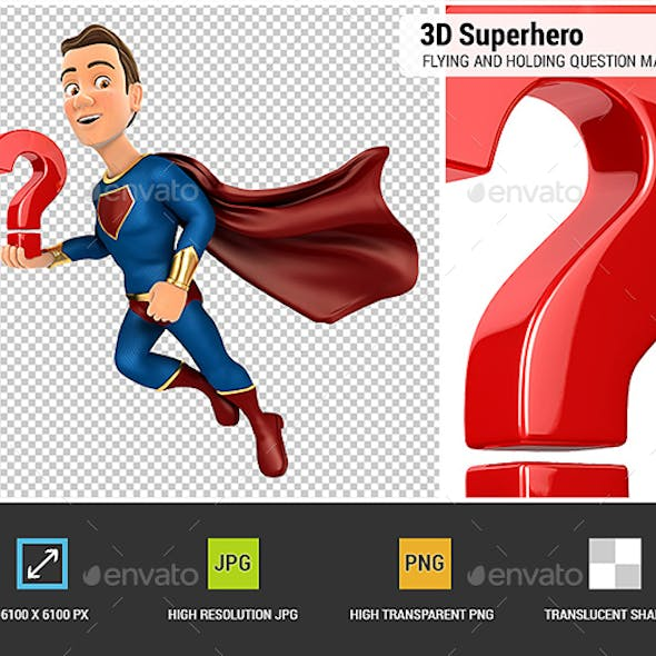 3D Superhero Flying and Holding Question Mark