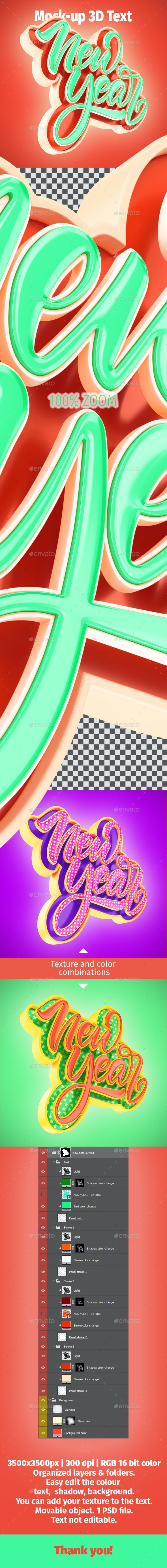 New Year 3D Text Mock-Up - Product Mock-Ups Graphics