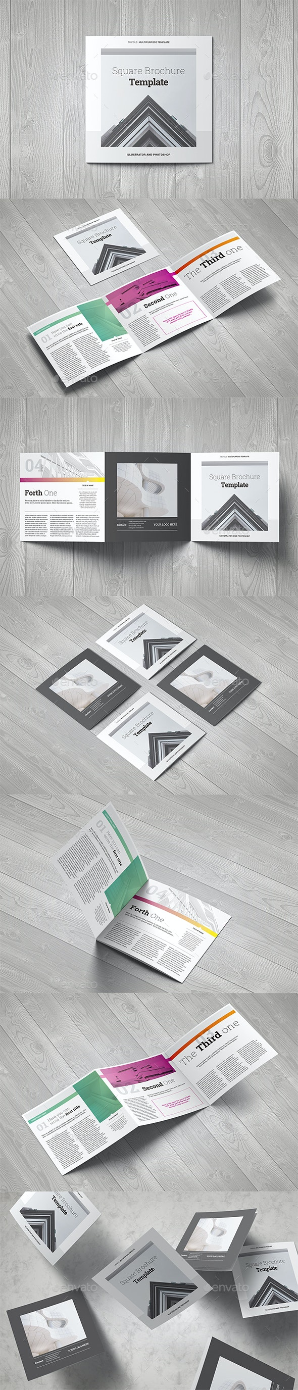 Square Trichure Template - Brochures Print Templates