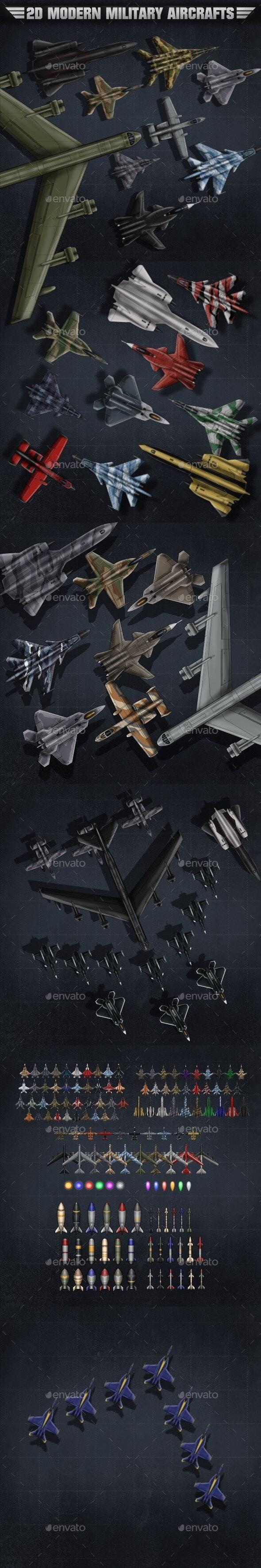 2D Modern Military Aircrafts - Sprites Game Assets