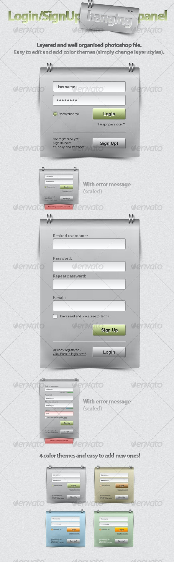 Login/SignUp Hanging Panel - Forms Web Elements
