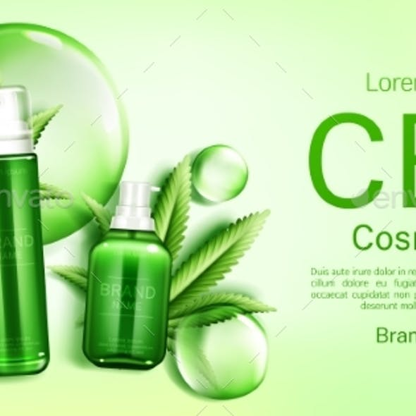 CBD Cosmetics Bottles with Bubbles and Leaves