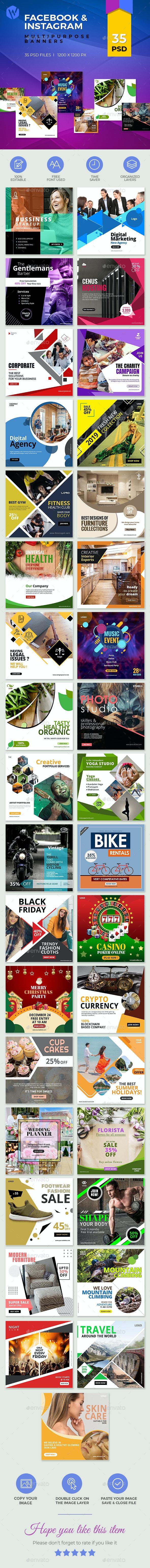 35-Facebook & Instagram Banners - Social Media Web Elements