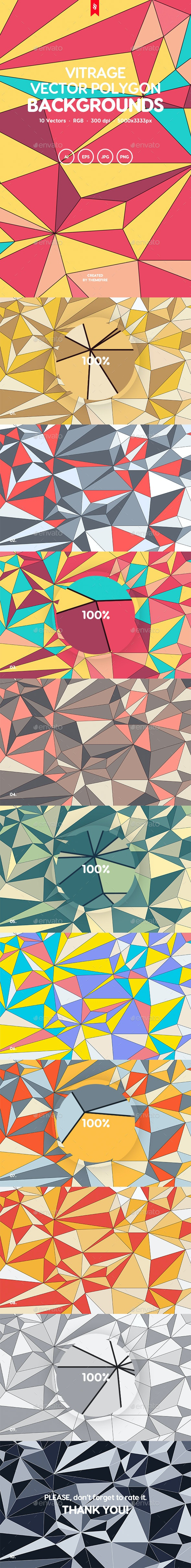 Vitrage - Colorful Vector Polygon Backgrounds - Abstract Backgrounds