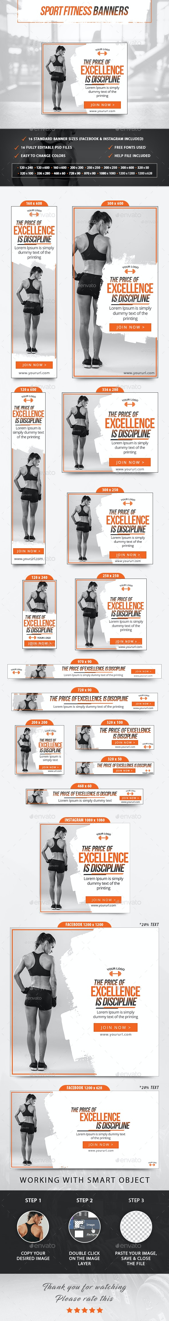 Sport Fitness Banners - Banners & Ads Web Elements