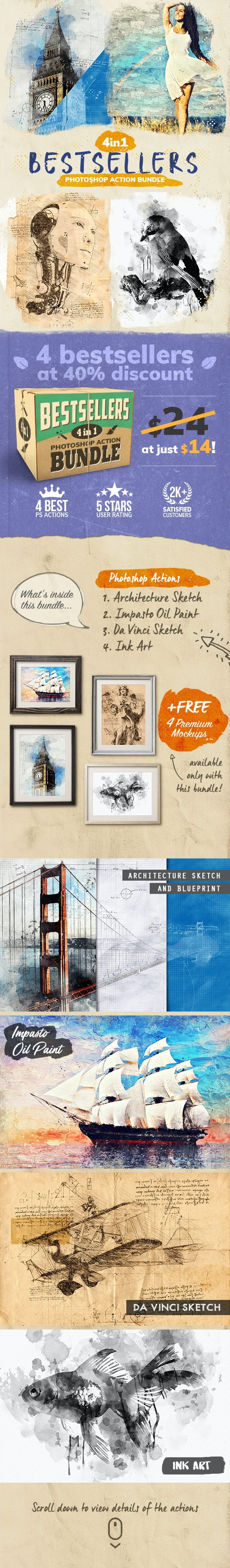 4-in-1 Bestsellers Photoshop Action Bundle - Photo Effects Actions