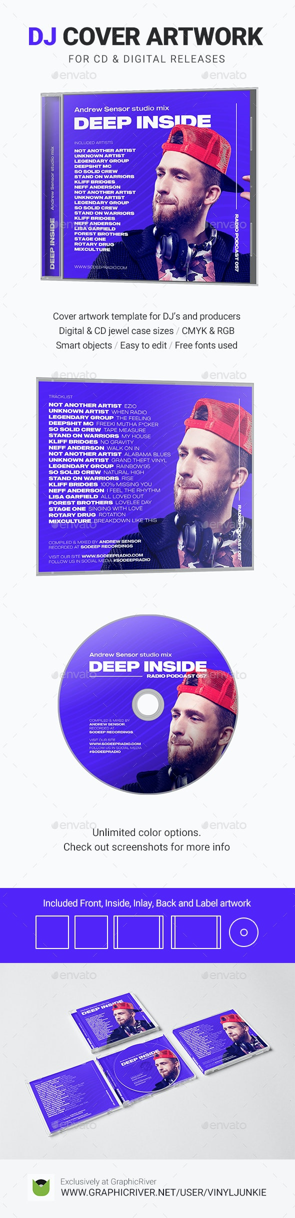 Modern DJ Mix / Album CD Cover Artwork Template - CD & DVD Artwork Print Templates