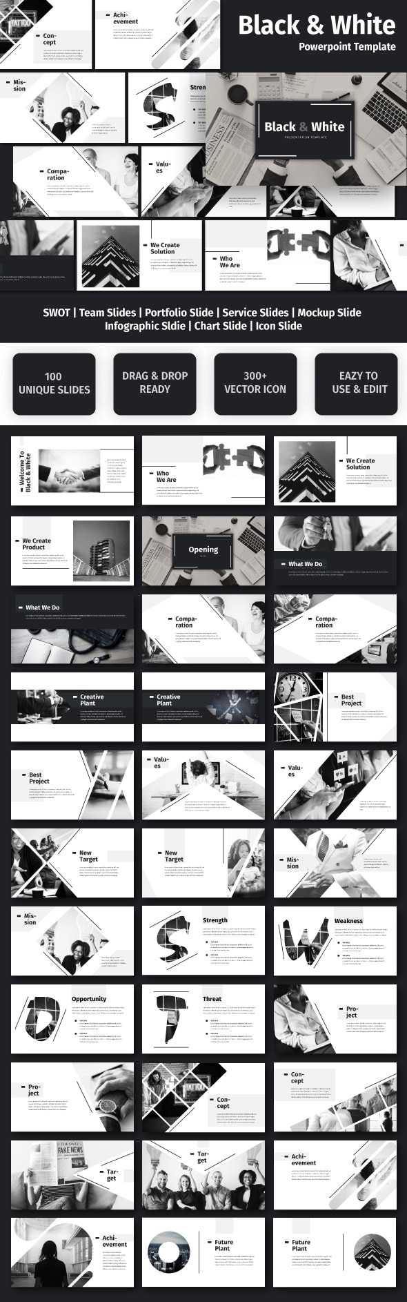 Black & White - Business Powerpoint Template - Business PowerPoint Templates
