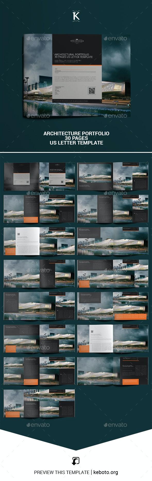 Architecture Portfolio 30 Pages US Letter Template - Portfolio Brochures