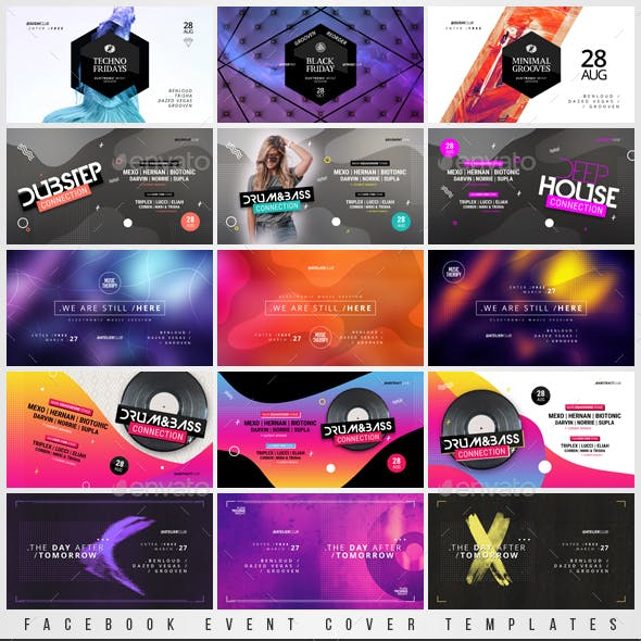 Electronic Music Party - Facebook Event Cover Templates Bundle 4
