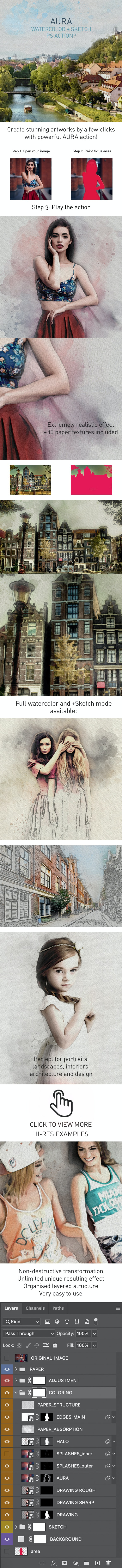 AURA | Watercolor Sketch Photoshop Action - Photo Effects Actions