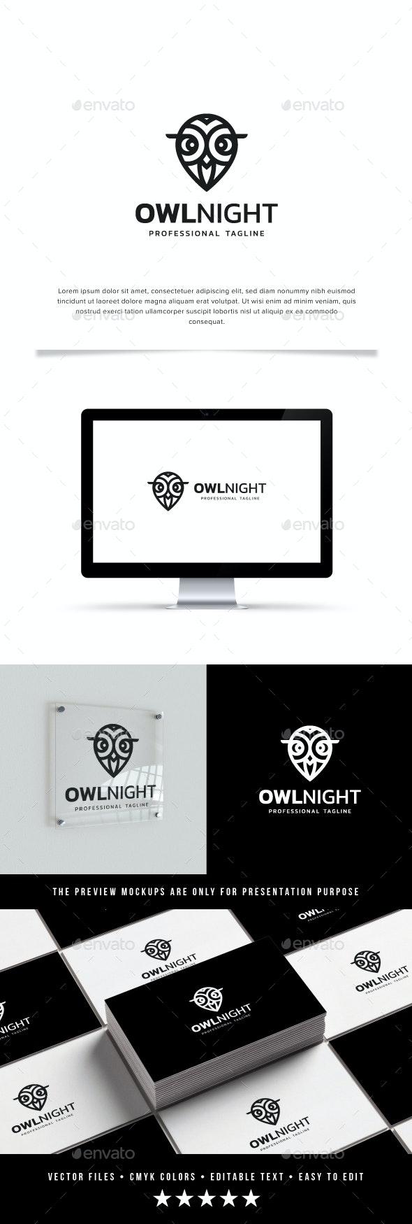 Owl Night Logo - Animals Logo Templates