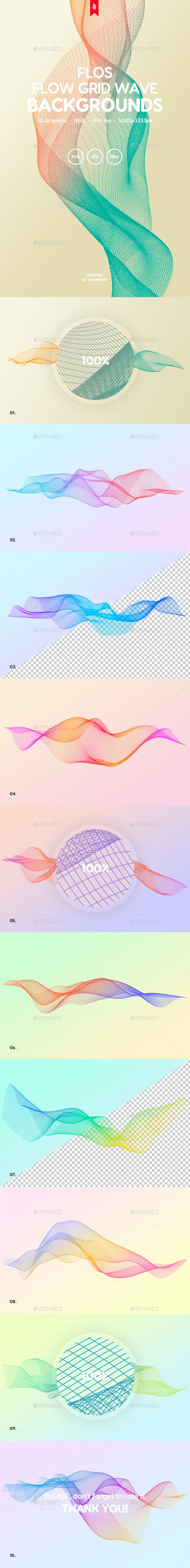 Flos - Flowing Grid Wave Background Set - Abstract Backgrounds