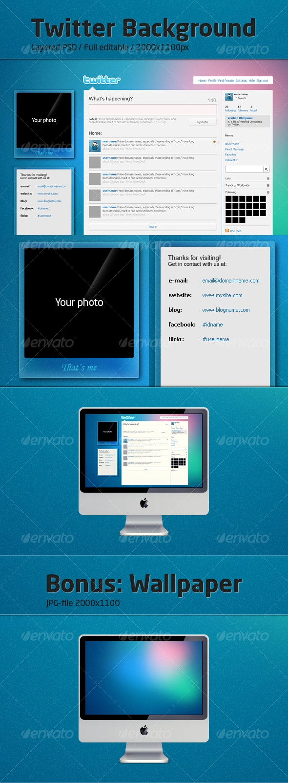 Twitter background «Blue Crystal» - Miscellaneous Web Elements