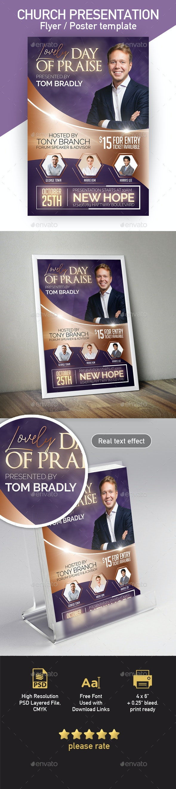 Church Flyer or Poster 4x6 Template