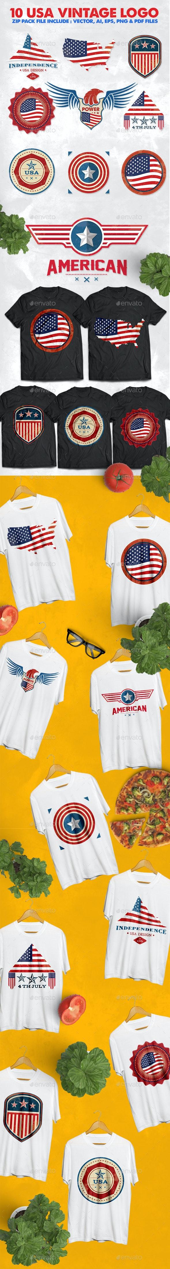 10 USA Vintage Badges Logo - Badges & Stickers Web Elements