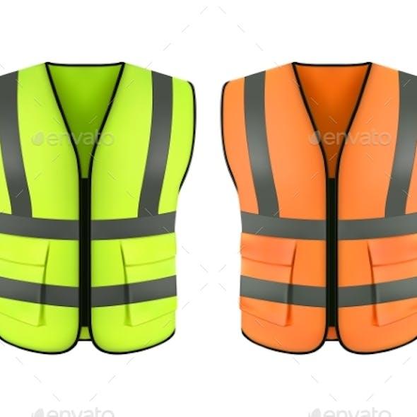 Reflective Orange Vest and Green Construction Jacket