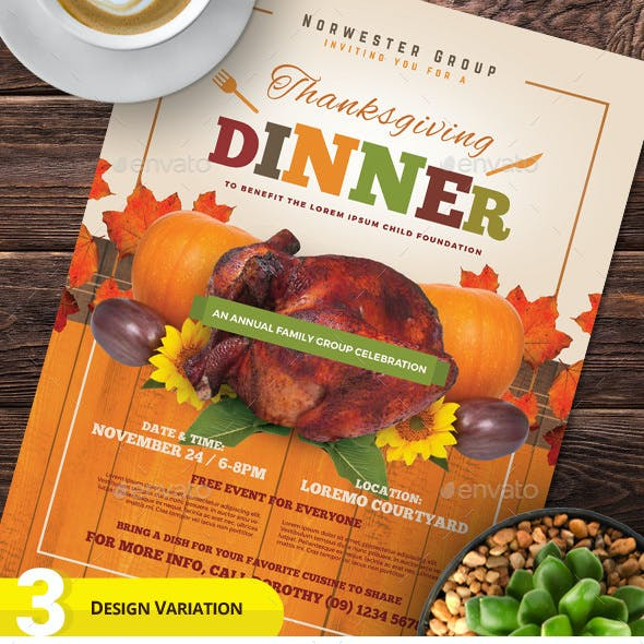 Thanksgiving Dinner Flyer Templates
