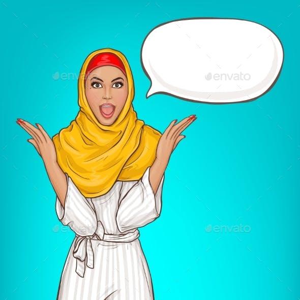 Arabic Woman in Hijab Surprised