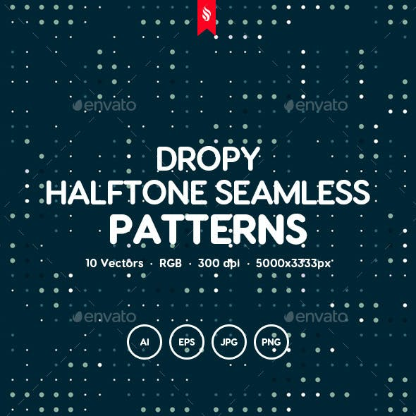 Dropy - Splattered Halftone Seamless Patterns