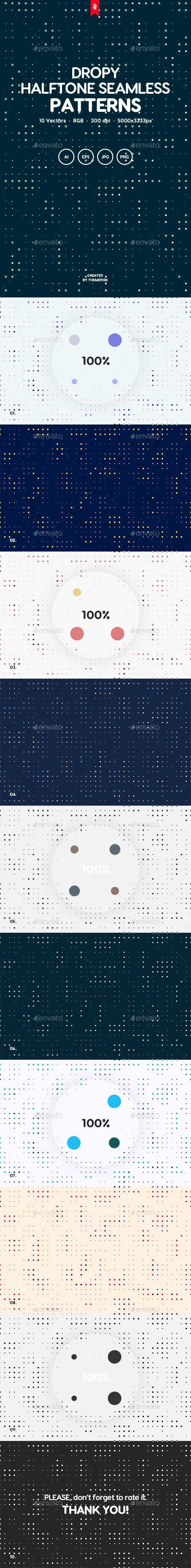 Dropy - Splattered Halftone Seamless Patterns - Patterns Backgrounds