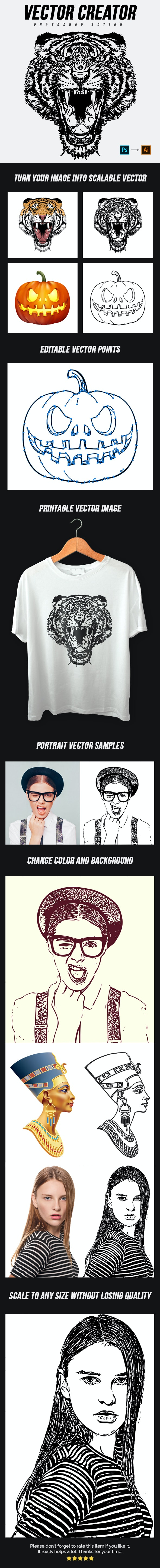 Vector Creator Photoshop Action - Photo Effects Actions