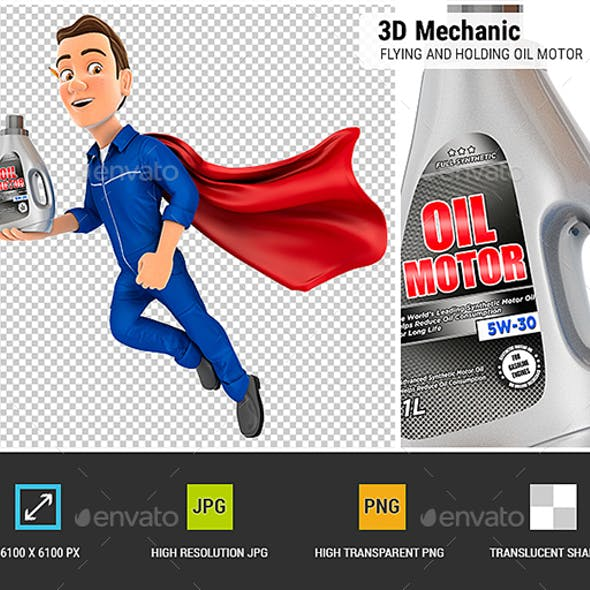 3D Mechanic Flying and Holding Oil Motor Canister