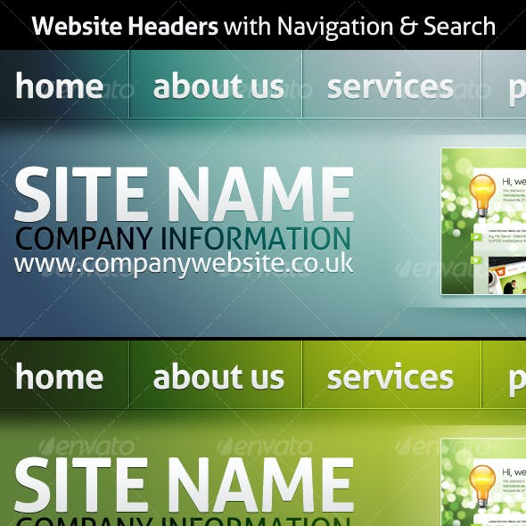 Website Headers with Navigation & Search