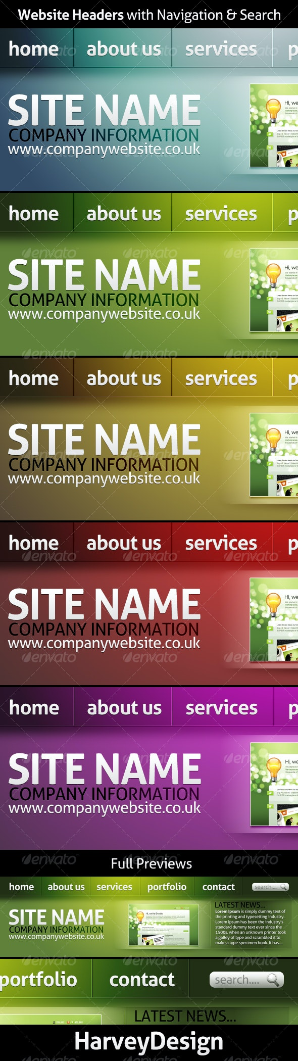 Website Headers with Navigation & Search - Web Elements