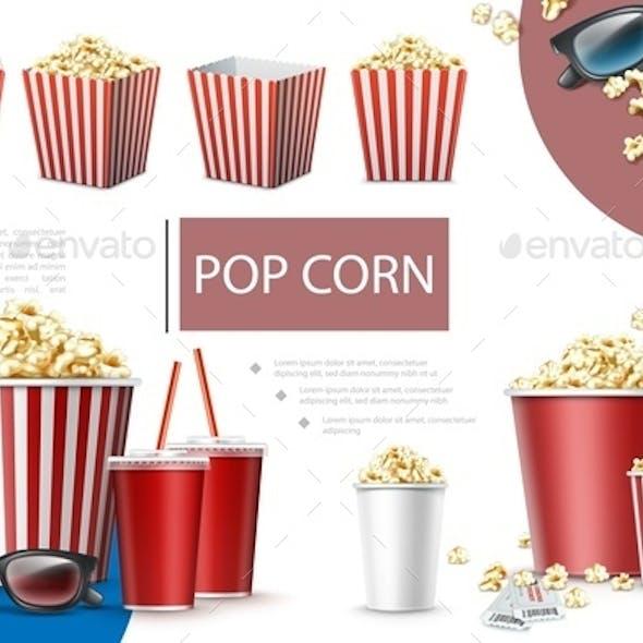 Realistic Popcorn Elements Composition