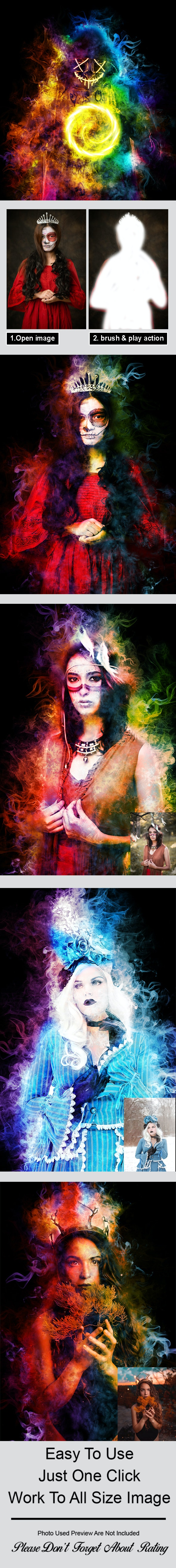 Amazing Colored Smoke Photoshop Action Vol 2 - Photo Effects Actions