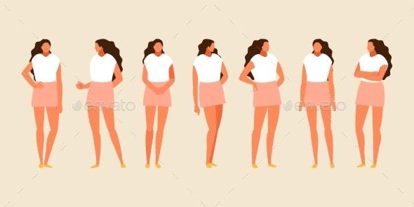 Standing Girl Set Vector - People Characters