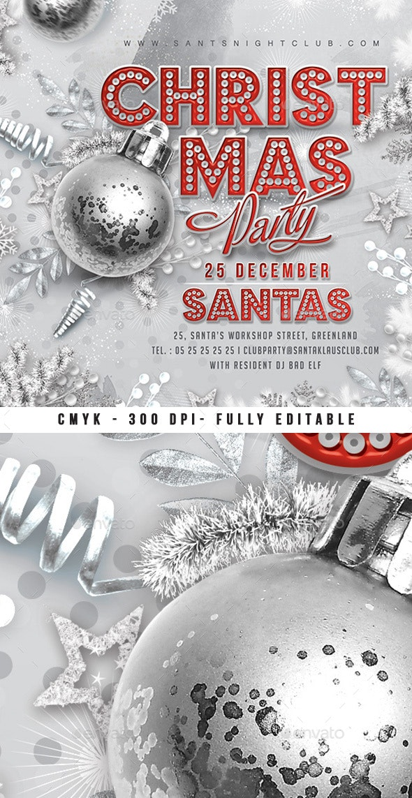Red And Silver Christmas Party Flyer - Clubs & Parties Events