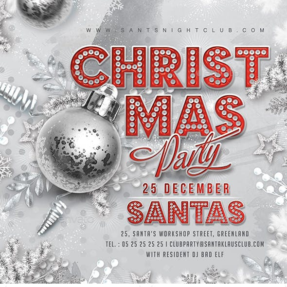 Red And Silver Christmas Party Flyer