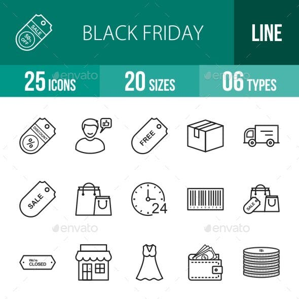 25 Black Friday Line Icons