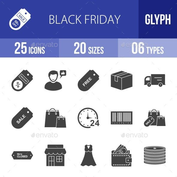 25 Black Friday Glyph Icons