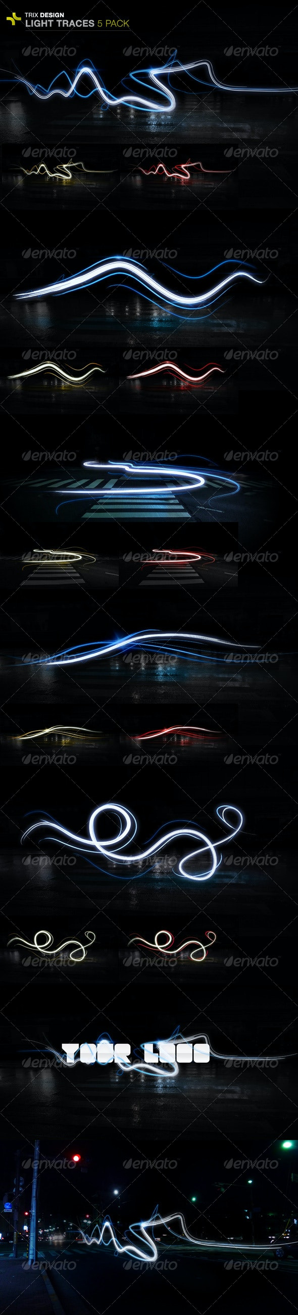 Light Trails - 5 Pack - Backgrounds Graphics
