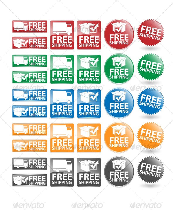 Complete Free shipping Icon Set - Commercial / Shopping Conceptual