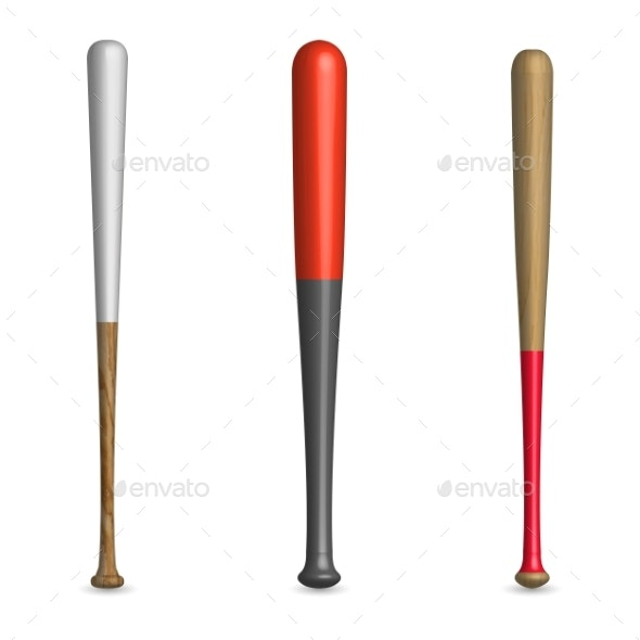 Set of Wooden and Plastic Baseball Bats - Man-made Objects Objects