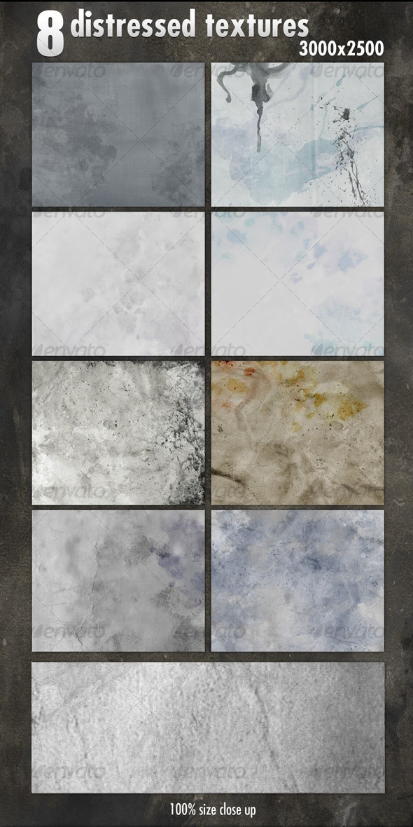 8 Distressed Textures - Backgrounds Graphics