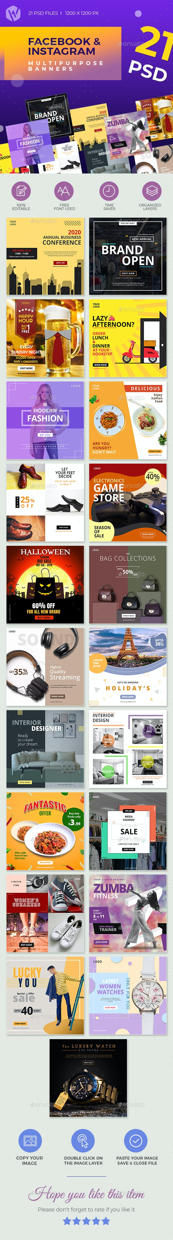 21 - Facebook & Instagram Banners - Social Media Web Elements