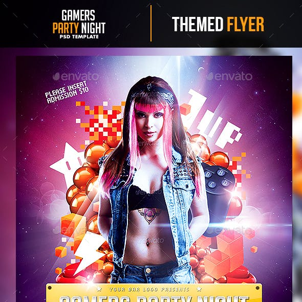 Gamers Party Night Flyer Template