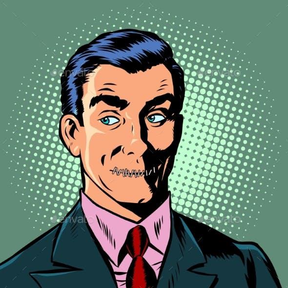 Pop Art Man Mouth Locked Censorship Secret