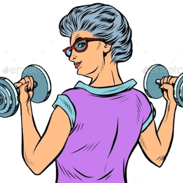 Fitness Dumbbells Sport Activity Woman Grandmother