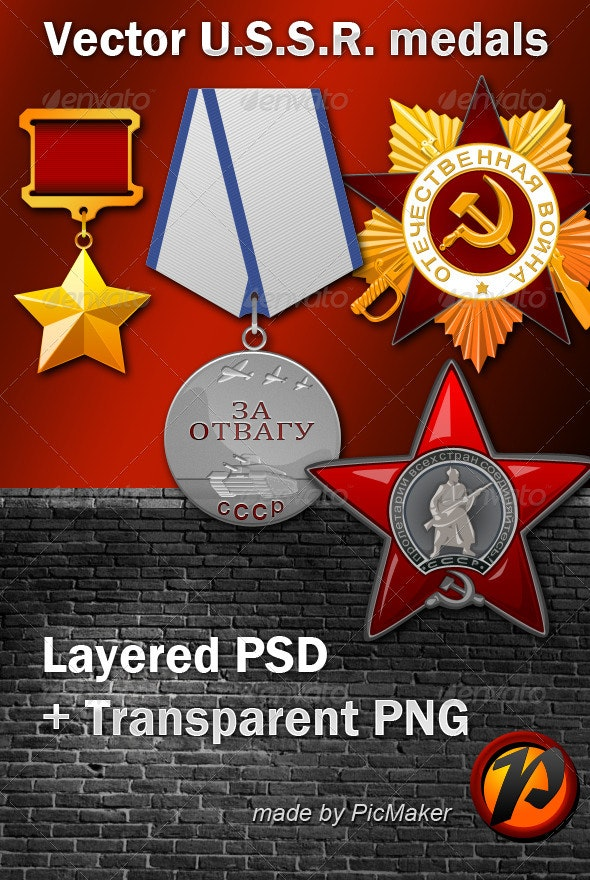 USSR WWII Medals - Objects Illustrations