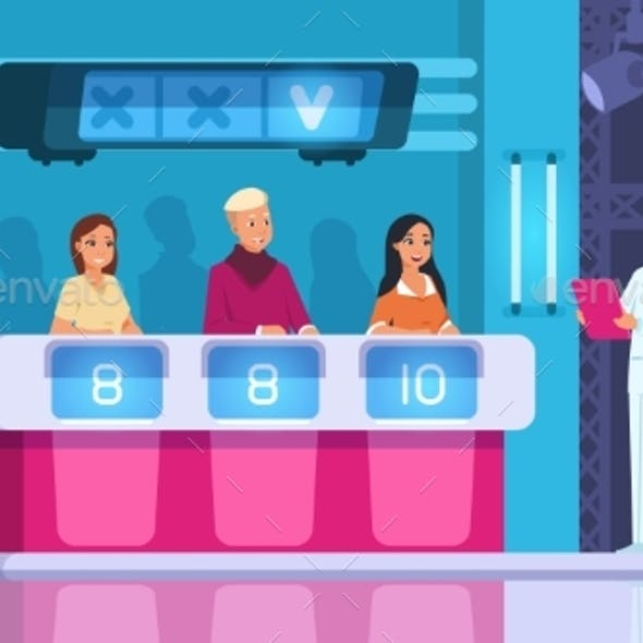 TV Contest. Cartoon Word Competition Game