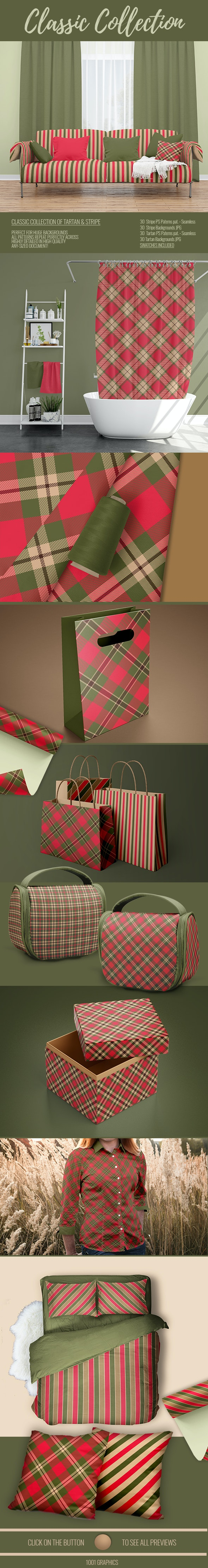 Classic Collection - 60 Tartan & Stripe Backgrounds + 60 PS Patterns. - Textures / Fills / Patterns Illustrator